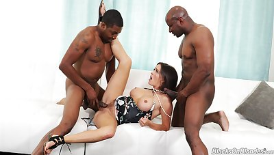 Crazy threesome for the busty milf with two black thugs