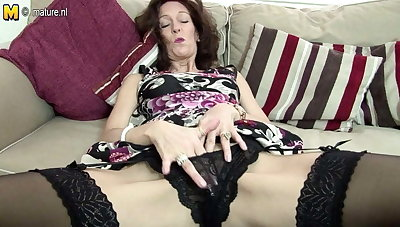 Hot skinny granny sets her pussy on fire