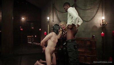 Bi-sexual male slave endures ebon flannel up the throat