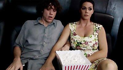 Horny milf touch shy stepson's Hawkshaw in cinema