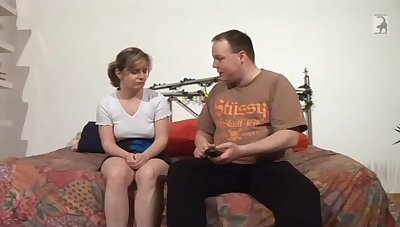Fat man talking a shy German woman into having sexual congress with him