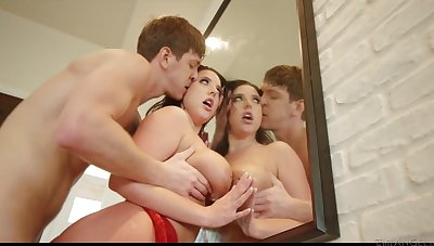 Seductive brunette in sexy red unmentionables Angela Sallow is fucked by new suitor