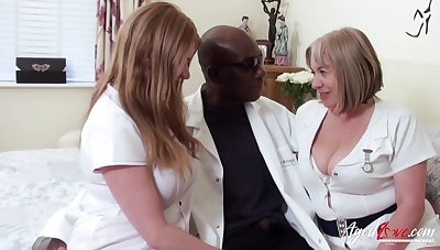 Duo chubby head nurses bang one black man and eat his cum greedily