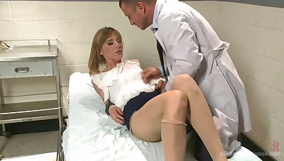 Milf with small tits, hard sexual intercourse with the sex-crazed doc with a big dig up