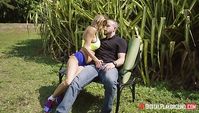Balls unfathomable cavity outdoor fucking on the lounge with wild Alexis Faws