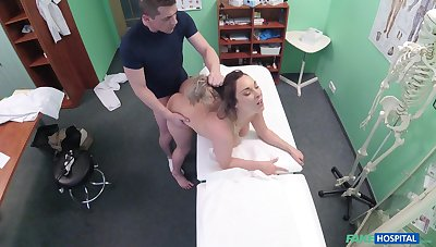 Bitch wants the doctor's soaked dick to inhume into their way cunt