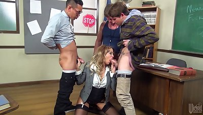 Rough mouth shacking up for beautiful secretary Jessica Drake in stockings