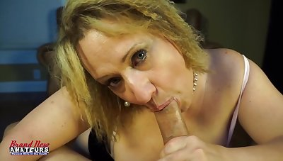 Donna sucks dick as a mature big boob slut