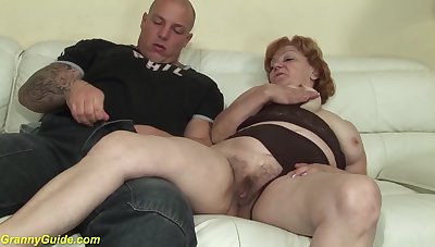 Toothless 74 years old mom gives best blowjob