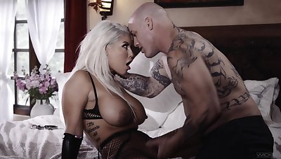 Cougar Latina blonde, intriguing dwelling-place porn with the next door guy