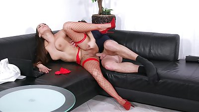 Mea Melone takes the bone while wearing blue red-hot fishnets
