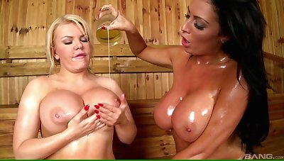 Busty chicks Tiffany Kingston and Ava Koxxx have sex in dramatize expunge sauna