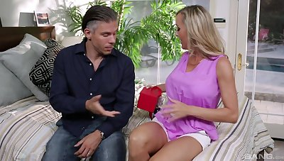 Horny blonde wife Cherie Deville opens say no to legs to ride on burnish apply bed
