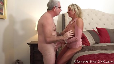 Gray haired man fucked a tanned mature blonde