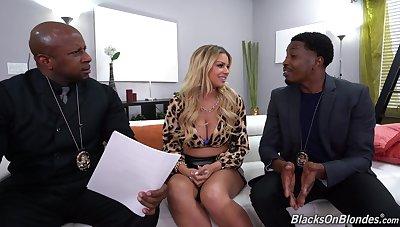 Nude Latina MILF fucks with regard to two black cops