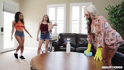 Naked beauties ration their lesbian passion respecting a kinky home function