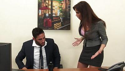 Sexy milf kingpin Syren De Mer exploits employee for dick hd