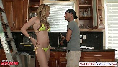 19 yo rubicund boy becomes a real man with friend's cougar mommy Desi Dalton