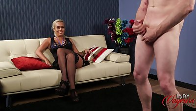 CFNM video of one man stroking his penis while Scarlett Jackson watches