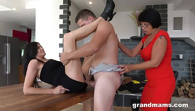 Lad with a strong cock fucks both these magic matures in a home trio