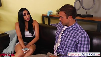 Tick blowing and riding cock tanned busty sexpot Audrey Bitoni reaches orgasm