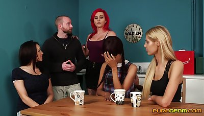 Mandy Slim, Roxi Keogh, Sade Rose and Vickie Powell stroke a guy's dick
