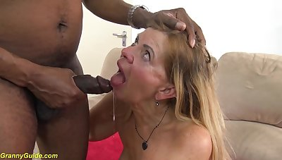 Hairy chubby granny with saggy boobs gets rough deep interracial big black cock fucked