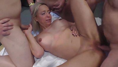 Extreme rough bukkake orgy for curvy milf