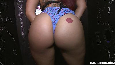 Gloryhole fun with a slutty redhead chick sucking a gumshoe - Staci Unfocused