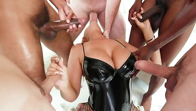Many big cocks attack deep throat be worthwhile for super hot busty porn model Bridgette B